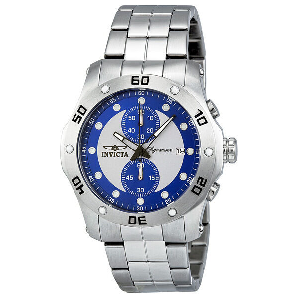 Invicta Signature II Chronograph Blue and Silver Dial Stainless Steel Mens Watch