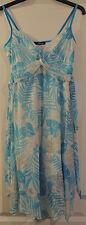 Jane Norman Multi Blue Foil Palm Print Dress Handkerchief Hem 14 BNWT RRP £40
