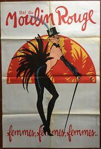 Affiche-BAL-DU-MOULIN-ROUGE-Femmes-femmes-femmes-GRUAU-Cabaret-80x120cm-80-039-s