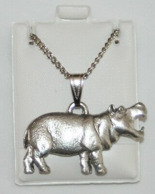 Hippopotamus Hippo Harris Fine Pewter Pendant USA Made