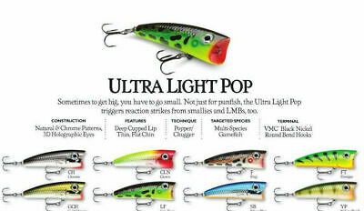Rapala Ultra Light Pop //// ULP04 //// 4cm 3g Fishing Lures Various Colors