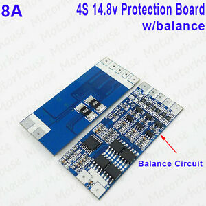 4S 14.8V Li-ion Lithium Cell 8A 18650 Battery Protection BMS PCB Board w/Balance