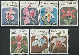 LAOS-N-810-816-Fleurs-Orchidees-TB-1987-flowers-Orchids-796-796F-MNH