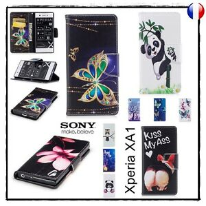 Etui-porte-cartes-coque-housse-Cuir-PU-Leather-Wallet-case-cover-Sony-Xperia-XA1