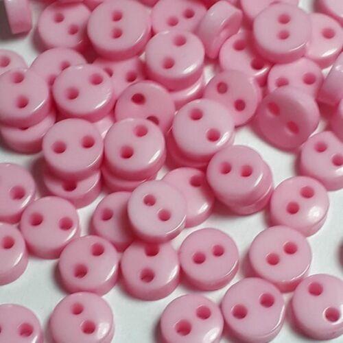 50 un Pequeña Luz Rosa De Costura Botones Plástico 2 orificios 6mm B18986 Craft Supplies