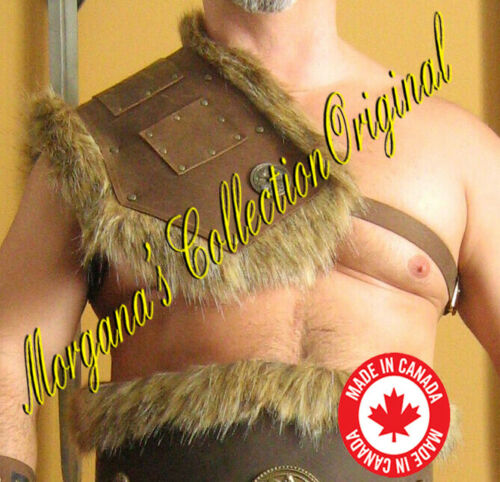 Medieval Barbarian Single Leather Shoulder Armor with Fur