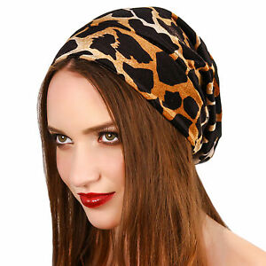Giraffe Print Velvet Slouch Beanie Knit Headwrap Turban Hat Earwarmer