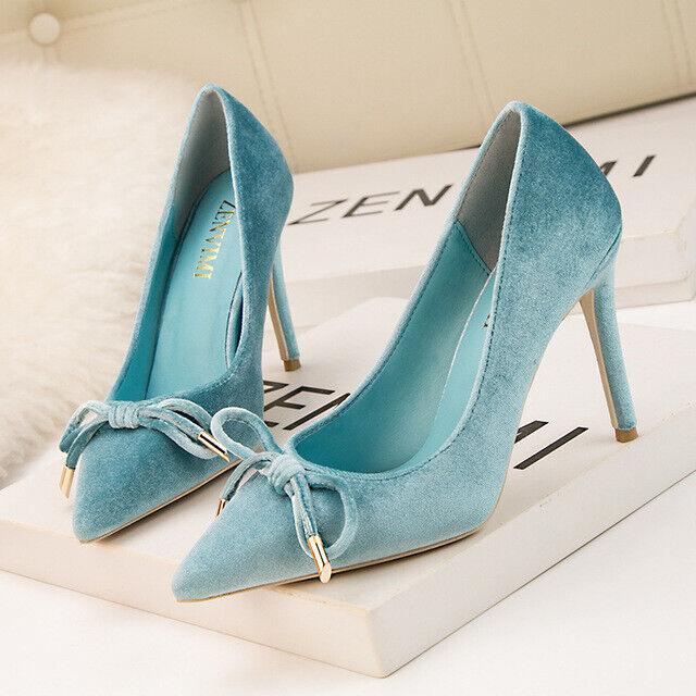 Chaussures decolte eleganti  stiletto 10 cm azzurro velluto pelle sintetica 1546