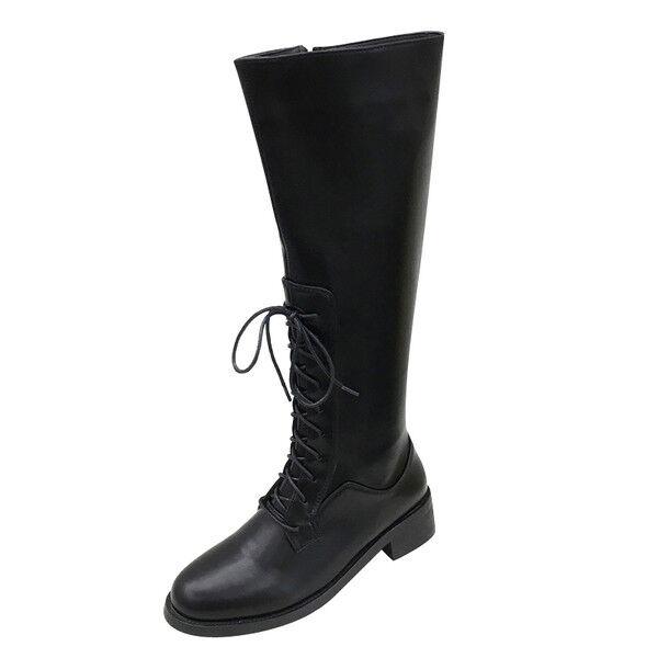 botas bikers charol negro cómodo botas militares mujer talón 3 cm 1473