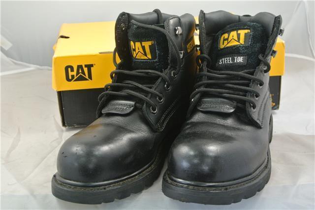 CATERPILLAR BLACK LEATHER STEEL TOE CAP BOOTS UK SIZE 9
