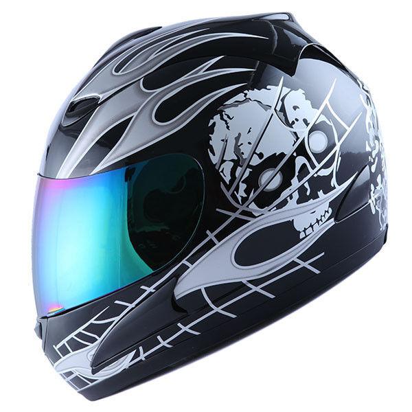 NEW Motorcycle Street Bike Full Face Helmet White Skull Flame Black S M L XL