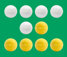 10 Foosballs: 5 White Smooth & 5 Yellow Textured Table Soccer Balls