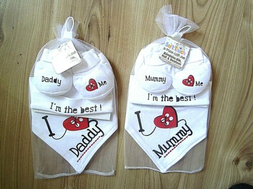 I Love Mummy Daddy baby boy girl bandana bavoir bonnet chaussons douche ensemble cadeau blanc