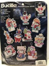 1997 Bucilla LET IT SNOW 10 Ornaments Set COUNTED CROSS STITCH Sealed Kit 83690