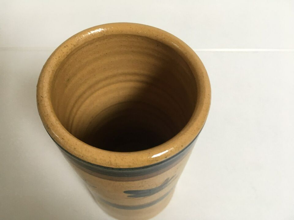 Keramik Vase Dansk Design vase, gul brun og blå, Lillerød