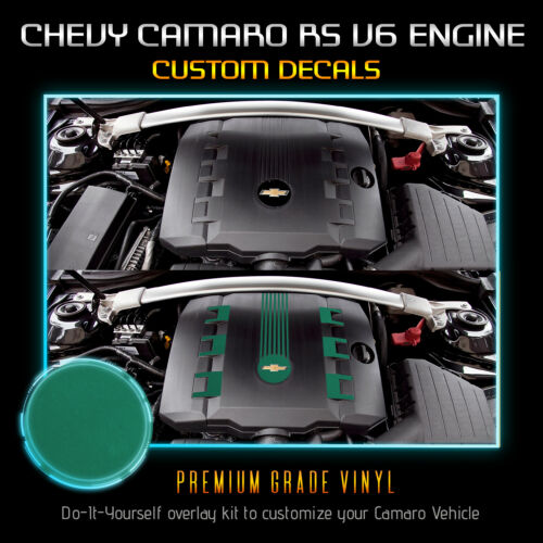 Satin Matte Chrome RS V6 Engine Cover Decal Fit 2010-2015 Chevrolet Camaro