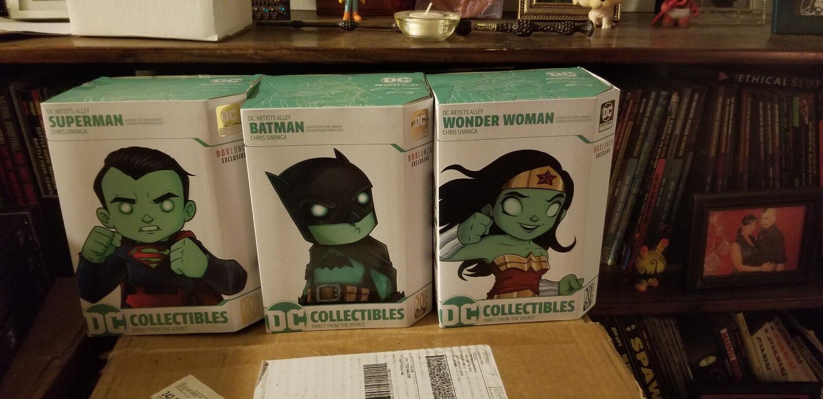 DC Artist Alley Set Batman Superman Wonder Woman Umiga Box Lunch Excl ZOMBIE GID
