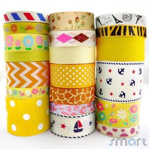 20x1Yards-Assorted-Grosgrain-Ribbon-Lots-20-Styles-3-8-034-1-5-034-Yellow-Theme-Craft