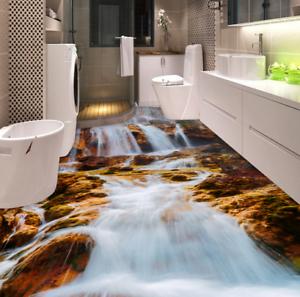 3D cascada rocas Piso impresión de parojo de papel pintado mural 43 5D AJ Wallpaper Reino Unido Limón