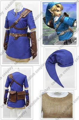 legend of zelda twilight princess Blue link cosplay costume
