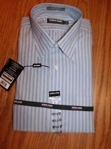 Nwt mens kirkland signature dress shirt no iron gray blue for Mens no iron dress shirts