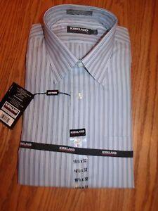 Nwt mens kirkland signature dress shirt no iron gray blue for Men s no iron dress shirts