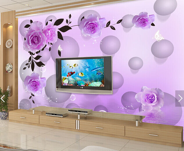 3D purple Blasen, bluemen 25656 Fototapeten Wandbild Fototapete BildTapete Familie