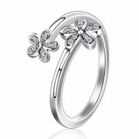 2017 Luxury 925 European Flower Style Silver Ring For Women's Jewelry Adjustable