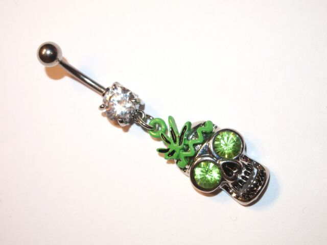 Skull with Pot Leaf and Green crystal eyes Navel / Belly Bar ~ Halloween Gothic