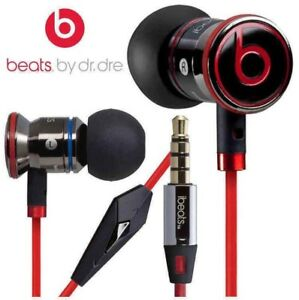 Genuine Monster Beats By Dr Dre Ibeats In Ear Headphones Earphone Red In Black Ebay