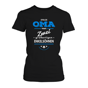 Stolze Oma 2 Jungen Damen T-Shirt Enkel Geburtstag Geburt Geschenk Idee Fun Neu