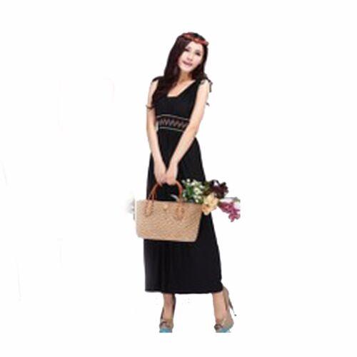 Womens Summer Long Green Black Maxi Dress Evening  Party Beach Dress 14