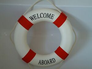 Large-Ships-Life-Ring-Welcome-Aboard-Lifebuoy-Red-amp-White-510-mm-Boat-Belt-Buoy