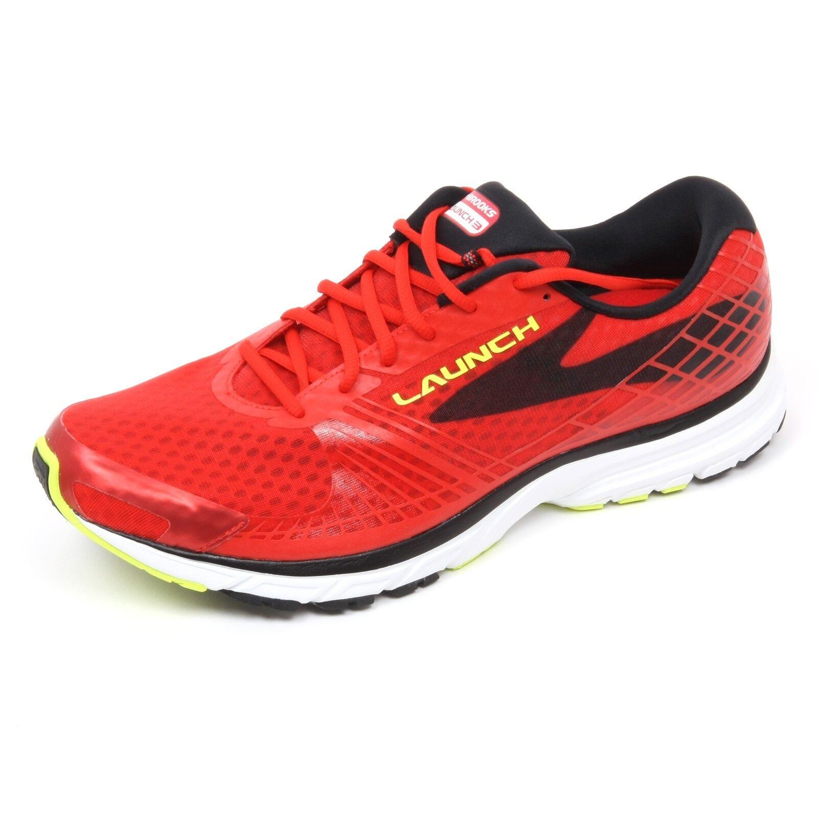 C4882 sneaker uomo BROOKS LAUNCH 3 rosso/nero shoe man