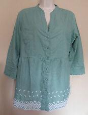 Principles UK16 EU44 US12 green cotton blouse with white spot pattern