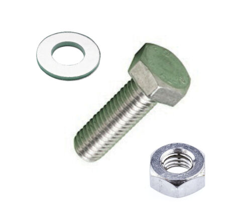 WASHERS M8 x 25MM x 10 SETS A2 STAINLESS STEEL HEX HEAD SETSCREWS HEX NUTS