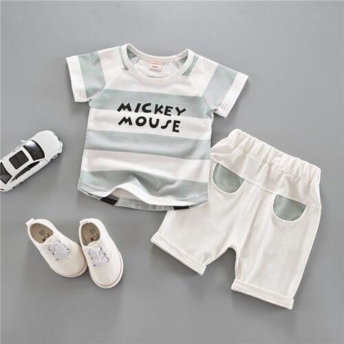 short d/'été Enfant Vêtements Tenues Ensemble 2pcs bébé garçon MICKEY à manches courtes T-shirt