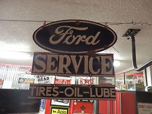 antique-style-porcelain-look-Ford-blue-oval-dealer-service-garage-sign-2-piece
