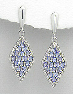 Tanzanite-Earrings-Solid-Sterling-Silver-Dangle-1-7-034-Latch-Backs-9-47g-GORGEOUS