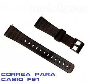 Correa-de-plastico-negra-para-reloj-Casio-modelo-F-91-18mm-con-pasadores