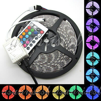 RGB 5M 300-LEDs 5050 Waterproof Flexible Strip Light + 24 Key Remote Controller