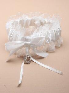 4897 Off White Jarretière Ruban De Satin Avec Cristal De Verre Coeur Mariage Mariée Poule-afficher Le Titre D'origine