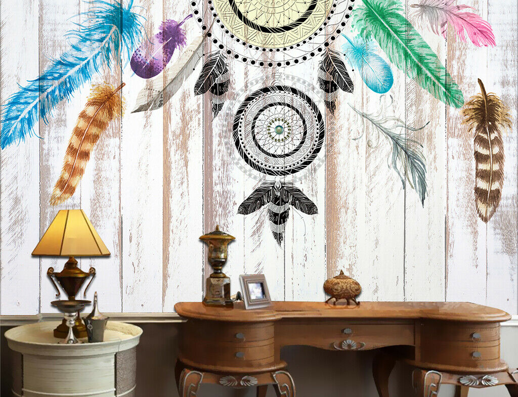 3D Feather Shape I218 Wallpaper Mural Sefl-adhesive Removable Sticker Wendy