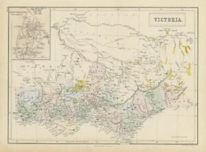 Map Of Australia Gold Rush.Details About Victoria Australia Gold Rush Districts Mount Alexander Gold Region 1856 Map