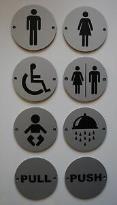 CIRCULAR-ROUND-SILVER-TOILETS-PUB-SHOP-BUSINESS-BATHROOM-DOOR-SIGN-NOTICE-PLATE