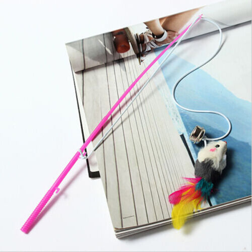 Durable Pet Cat Bell The Dangle Faux Mouse Rod Roped Funny Fun Playing Toy G VG