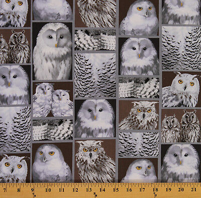 Celestial Snowy Owls Owls Birds Nighttime Fabric Printed by Spoonflower BTY