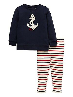 RALPH LAUREN Baby Boys French Terry Pants Size 6 Months Hunter Navy