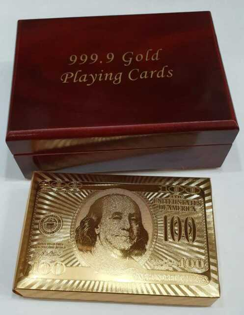 24k 999.9% Genuine Gold Plated Poker Playing Cards Deck With Wooden Box au
