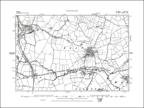 12NE repro Belton old map Rutland 1885